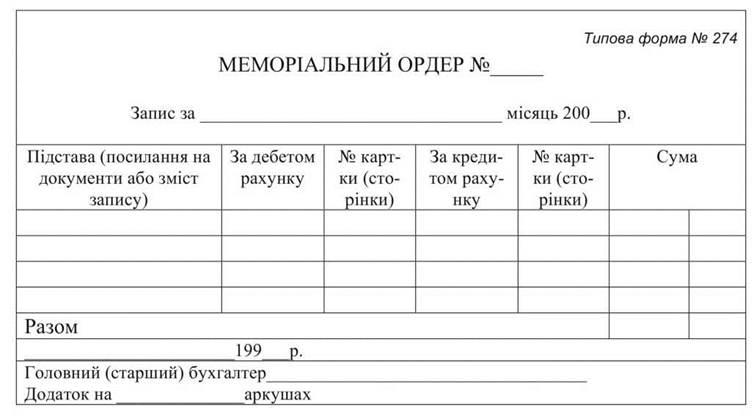 МЕМОРИАЛЬНЫЙ ОРДЕР ТИПОВАЯ ФОРМА 274 БЛАНК СКАЧАТЬ БЕСПЛАТНО